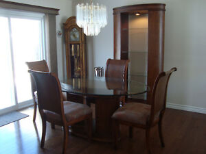 Dining room table, oval glass top, pedestal, Etagere/Shelf Unit