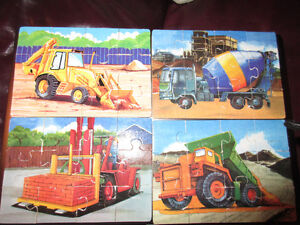 Wooden jigsaws  - 4 x 48 piece puzzles Diggers & trucks