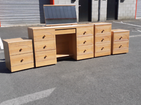 Dressing Table with Mirror, Pair of Bedside Cabinets&Chest of Drawers