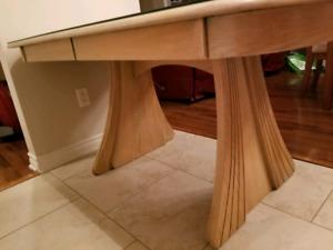 Table en chêne avec vitre