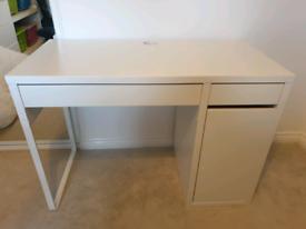 White IKEA desk.