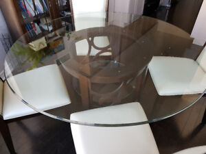 glass dinette round table and 4 chairs