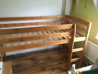 Pine wood kids Mid Sleeper single bed bed with ladder