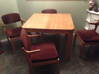 dining chairs, table and hutch set