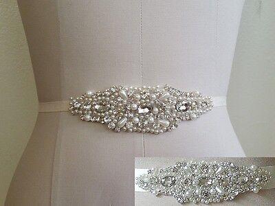 "Wedding Dress Sash Belt -  Crystal Pearl Sash Belt = BIG SALE = 5 1/4"" long"