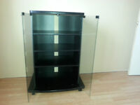 Black TV table with glass doors  and wheels