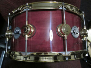 High end snare drums. prices vary, wood & metals.