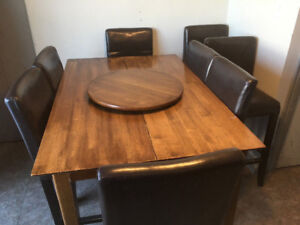 Pub Style Dinette and 8 Padded Leather bar chairs