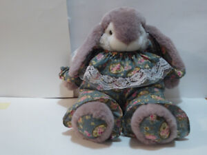 PLUSHY BUNNY RABBIT STUFFED ANIMAL IN OUTFIT - UNUSED/MINT