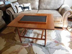 Vintage Danish Modern Swivel Top Serving Cart with Tray
