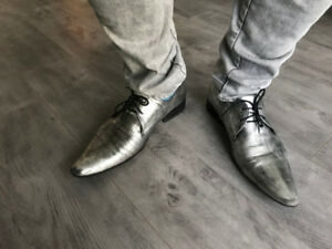 Designer Shoes - Silver (Grey) , Size 10 - From Paris, France