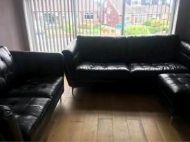 Leather Sofa 3 + 2 plus pouffe