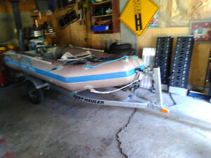 """Quick silver, 9.9 Evinrude , Easy Hauler package """" inflatable """""""