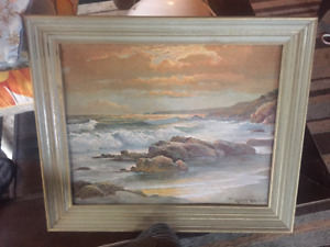Robert Wood Seascape Painting, Signed Reproduction