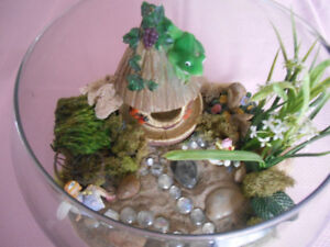 Fairy Bowl-largest bowl with sand and mini fairy display
