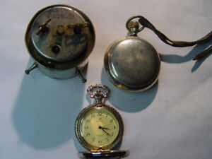 OLD CLOCK and two pocket watches