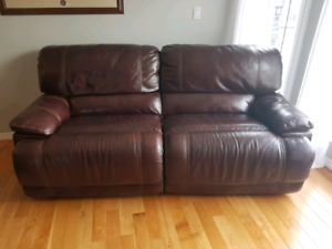 Power reclining leather