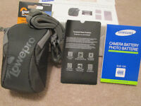 Camera battery, bag and screen cover - brand new