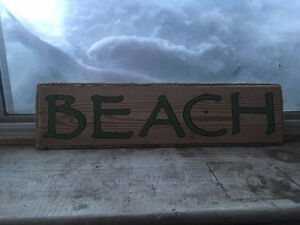 Rustic reclaimed lumber beach sign for sale