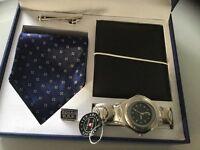Boxed watch/ wallet/tie/tie pin gents gift set