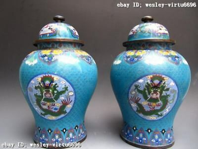 Royal Copper cloisonne enamel Two Dragon General Jar Tank pot Vase pair