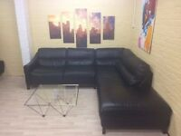Large Black Leather Corner Sofa