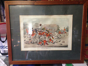 ANTIQUE 1827 THEO MCLEAN FOOT BALL LITHO GORGEOUS FRAME