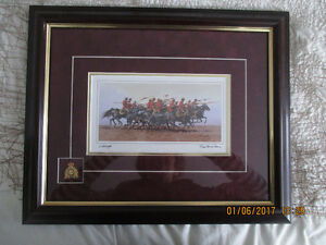 """CHARGED"""" BURGUNDY FRAMED ART CARD SIGNED BY BILL MCMILLAN"""