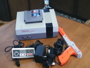 Nintendo NES video game console with games