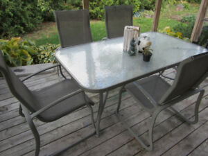 Patio Furniture Table and Chair 5 Piece SET Aluminum / Glass TOP