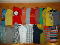 12 t-shirts and 9 collared golf shirt. Size 24months/2years.