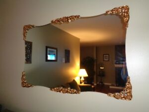 Large Mirror with gold accent