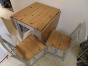 Ikea dinning table with two chairs