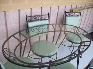 ROD IRON GLASS TOP TABLE WITH 4 CHAIRS FOR SALE