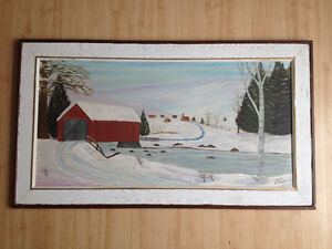 Fabulous folk art red covered bridge landscape oil painting