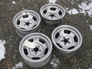 "4 Aluminum 14"" slot mopar small bolt pattern rims for sale"