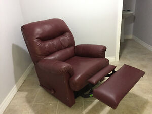Maroon Faux Leather Reclining Chair