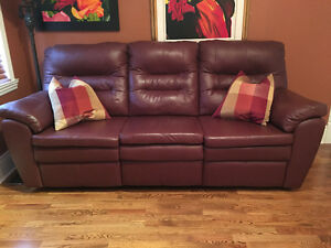Burgundy Leather reclining sofa
