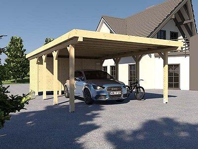 Carport Flachdach AVUS XII 500 x 800 cm Mit Geräteraum Konstruktionsvollholz KVH
