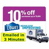One(1x) Lowes 10% Off Discount- Lowe's expiry 3/31/18