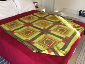Hand Made Cotton Embroidery Indian King Size Bed Sheet / Bed Co