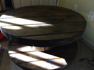 "35"" round, 16"" high homemade wooden spool table stained"