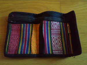 Women's fabric silk trifold wallet for sale London Ontario image 2