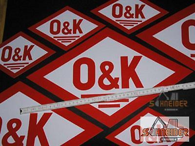 Aufkleber O&K 11x7cm (altes Logo,Rautenform)Orenstein & Koppel Kleber 3 Grössen