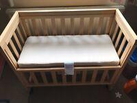Troll Bedside Crib/Cot with Custom-made Little Green Sheep Mattress