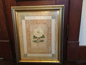 """Floral print in gold frame, 20"""" by 24"""" (A199)"""