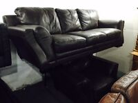 As new full dark brown leather 3 and 1 sofa set