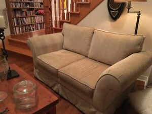 RESTORATION HARDWARE LOVE SEAT AND CHAIR