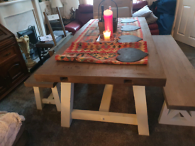 Rustic farmhouse 8/10 seat dining table , benches and chairs