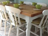 Pine Farmhouse family dining table (6) chairs